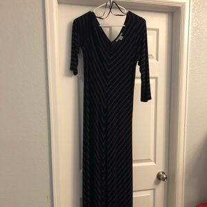 Black & blue striped maternity maxi dress.